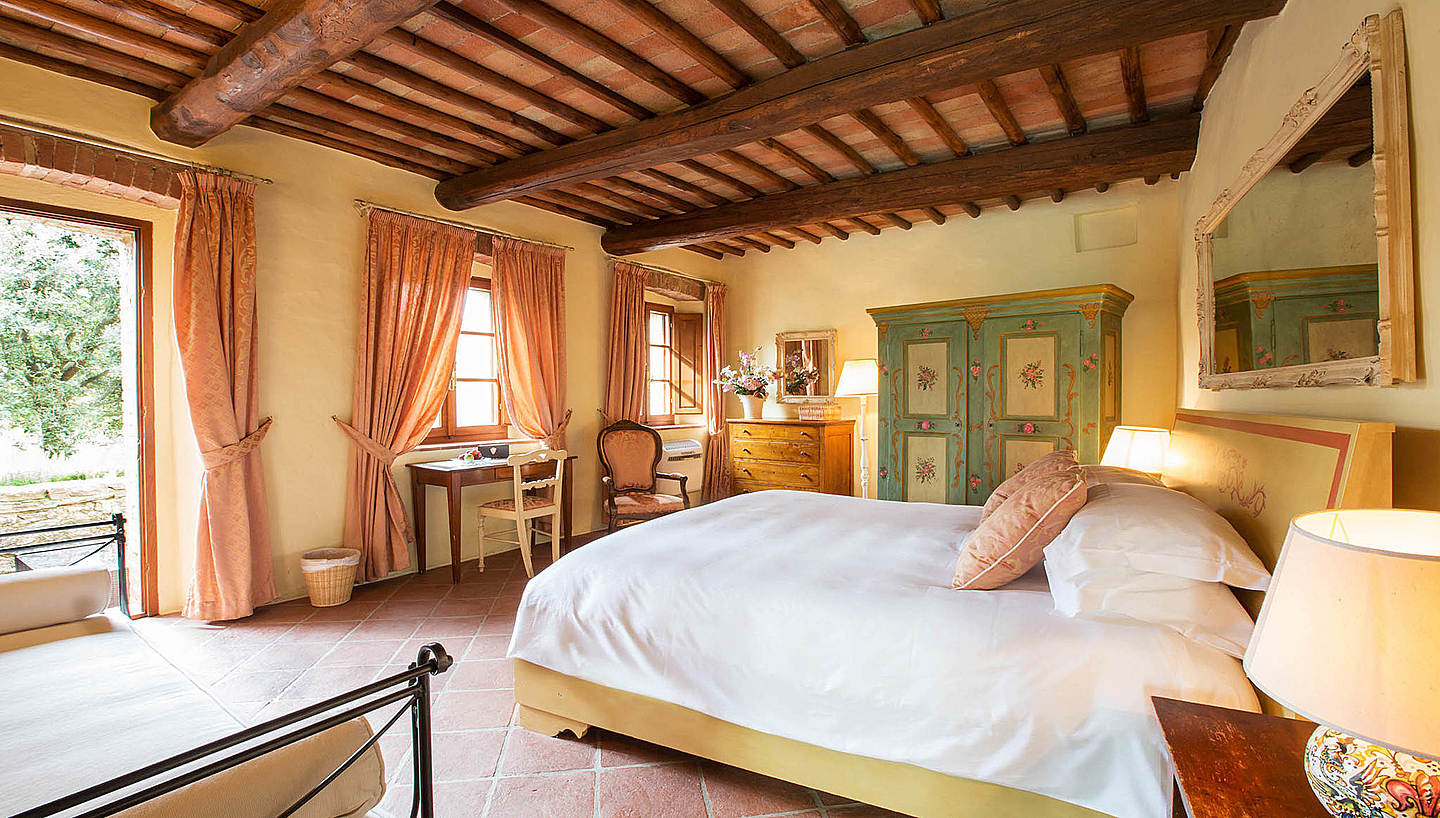 Suites have either a large living room with fireplace or and amazing view on the Chianti hills, one or two bright bedrooms.
