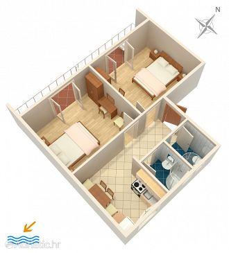 Hvar, Plan u smještaju tipa apartment, dopusteni kucni ljubimci i WIFI.