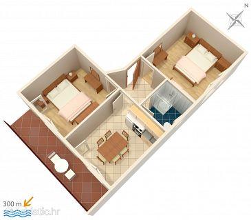 Vinišće, Plan u smještaju tipa apartment, dopusteni kucni ljubimci.