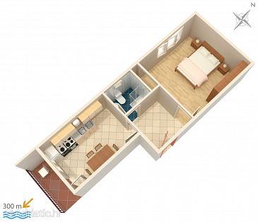 Vinišće, Plan kwatery u smještaju tipa apartment, dopusteni kucni ljubimci.