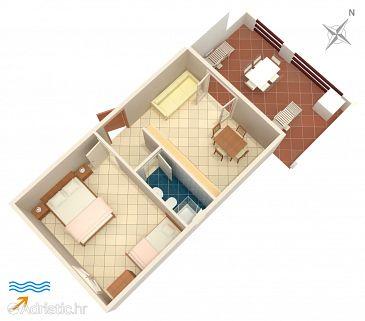 Tri Žala, Plan u smještaju tipa apartment, WIFI.