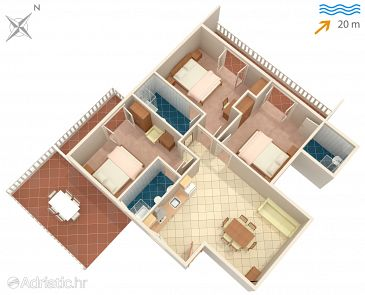 Supetarska Draga - Donja, Plan u smještaju tipa apartment, WIFI.