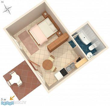 Ražanj, Plan kwatery w zakwaterowaniu typu studio-apartment, WIFI.