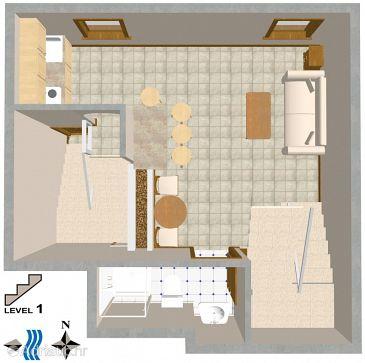 Rovinj, Plan u smještaju tipa apartment, dopusteni kucni ljubimci.