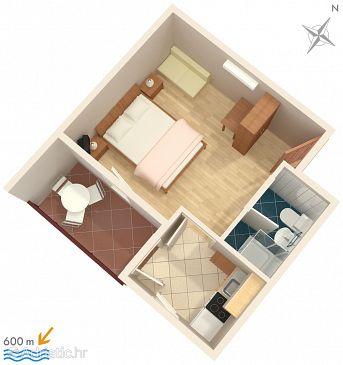 Premantura, Půdorys u smještaju tipa apartment, dopusteni kucni ljubimci i WIFI.