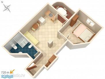 Rovinj, Plan kwatery u smještaju tipa apartment, dopusteni kucni ljubimci i WIFI.