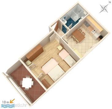 Stara Novalja, Plan u smještaju tipa apartment, dopusteni kucni ljubimci i WIFI.