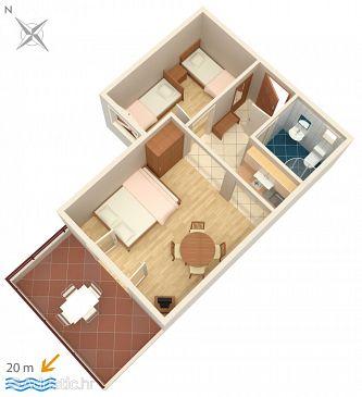 Crikvenica, Plan u smještaju tipa apartment, dopusteni kucni ljubimci i WIFI.