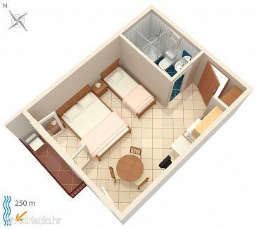 Crikvenica, Plan u smještaju tipa studio-apartment, WIFI.