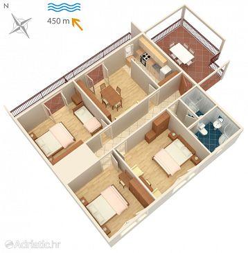 Novi Vinodolski, Plan kwatery u smještaju tipa apartment, WIFI.