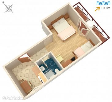 Vis, Plan u smještaju tipa studio-apartment, dopusteni kucni ljubimci i WIFI.