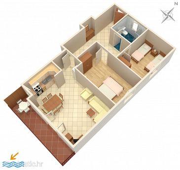 Umag, Plan u smještaju tipa apartment, dopusteni kucni ljubimci i WIFI.