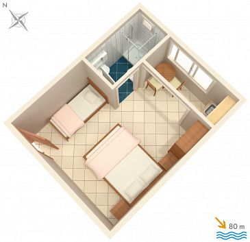 Studio AS-2575-d - Apartamenty Podaca (Makarska) - 2575