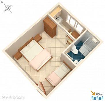 Podaca, Plan u smještaju tipa studio-apartment, WIFI.