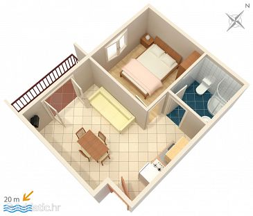 Zaostrog, Plan u smještaju tipa apartment, WIFI.