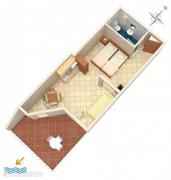 Studio flat AS-2739-b - Apartments Komarna (Ušće Neretve) - 2739
