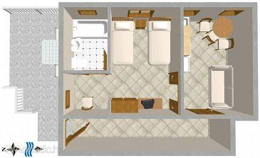 Podaca, Plan u smještaju tipa studio-apartment.
