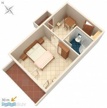 Zaostrog, Plan u smještaju tipa studio-apartment, WIFI.