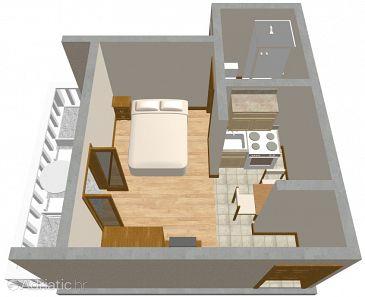 Zadar - Diklo, Plan u smještaju tipa studio-apartment.