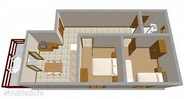 Zaton, Plan u smještaju tipa apartment, WIFI.