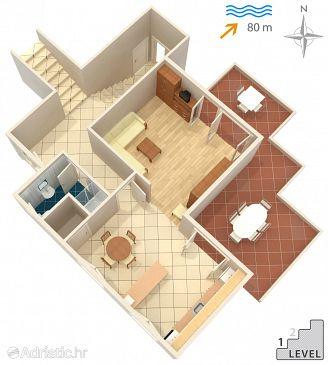Žrnovska Banja, Plan u smještaju tipa apartment, dopusteni kucni ljubimci.