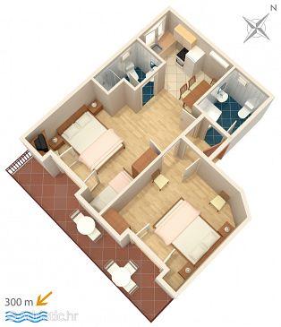 Mlini, Plan u smještaju tipa apartment, WIFI.