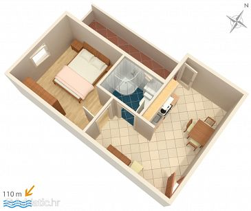Tučepi, Plan u smještaju tipa apartment, WIFI.