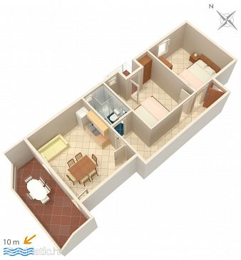 Apartament A-4086-a - Apartamenty Kustići (Pag) - 4086