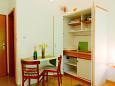 Pag, Dining room u smještaju tipa studio-apartment, dopusteni kucni ljubimci i WIFI.