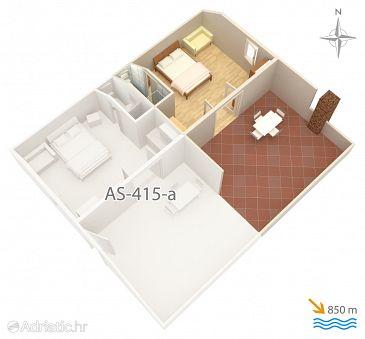 Kornić, Plan u smještaju tipa studio-apartment, WIFI.