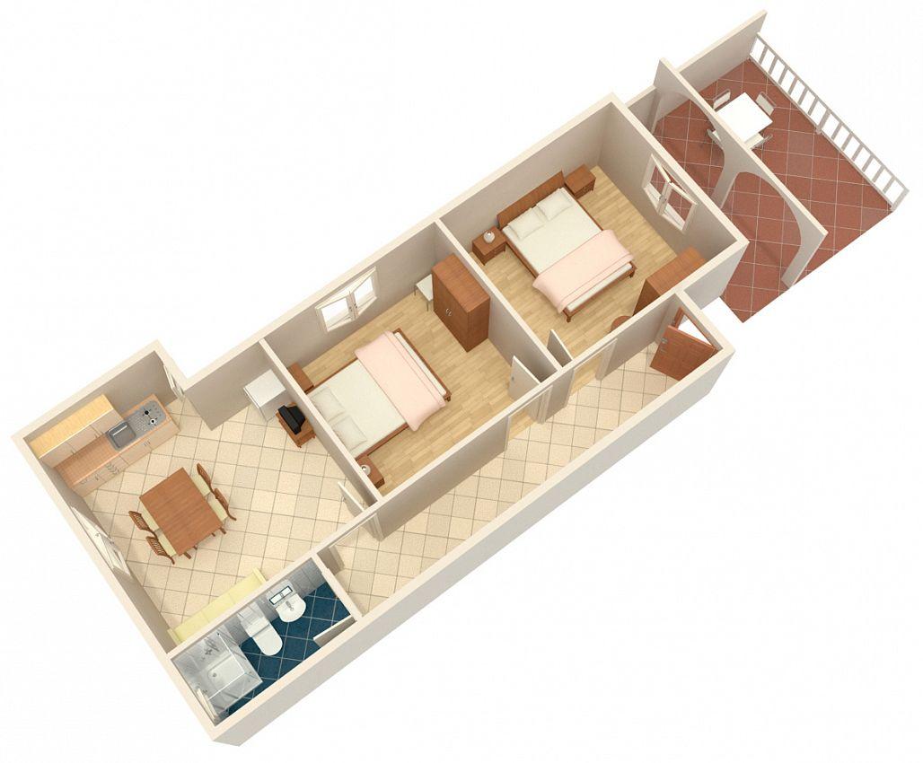 Apartmány s parkoviskom v meste Metajna - 4150