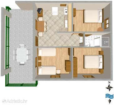 Primošten, Plan u smještaju tipa apartment, dopusteni kucni ljubimci i WIFI.