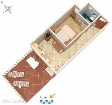 Veli Rat, Plan u smještaju tipa apartment, dopusteni kucni ljubimci i WIFI.