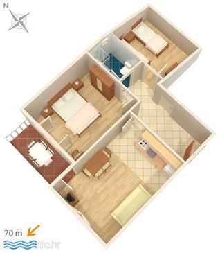 Uvala Soline, Plan u smještaju tipa apartment, WIFI.