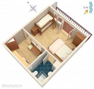 Trstenik, Plan u smještaju tipa studio-apartment, WIFI.