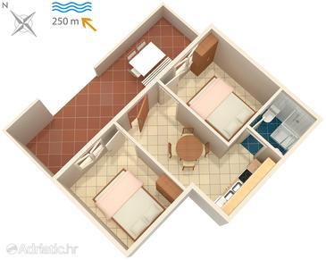Uvala Zaraće, Plan u smještaju tipa apartment, WIFI.