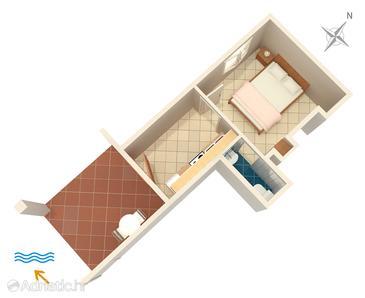 Uvala Pokrivenik, Plan kwatery u smještaju tipa apartment, WIFI.