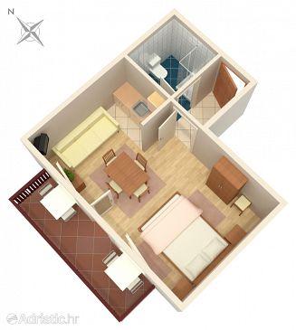 Rastovača, Plan u smještaju tipa studio-apartment, dopusteni kucni ljubimci i WIFI.