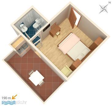 Kampor, Plan u smještaju tipa studio-apartment, dopusteni kucni ljubimci i WIFI.