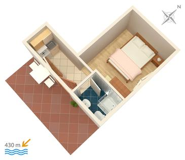 Studio AS-5198-c - Apartamenty Gradac (Makarska) - 5198