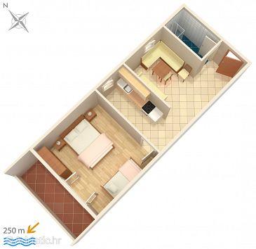 Metajna, Plan u smještaju tipa apartment, dopusteni kucni ljubimci i WIFI.