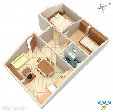 Njivice, Plan u smještaju tipa apartment, WIFI.
