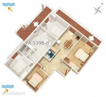 Njivice, Plan u smještaju tipa apartment, dopusteni kucni ljubimci i WIFI.