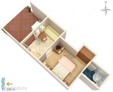 Klenovica, Plan kwatery u smještaju tipa studio-apartment, WIFI.