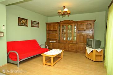 Tkon, Living room u smještaju tipa apartment, dopusteni kucni ljubimci i WIFI.