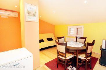 Privlaka, Dining room u smještaju tipa apartment, dostupna klima, dopusteni kucni ljubimci i WIFI.