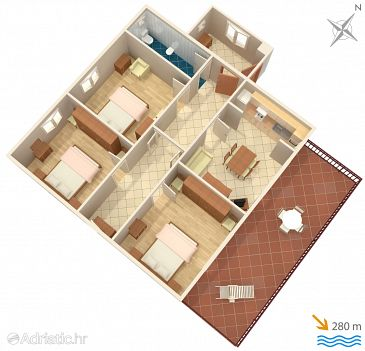 Marina, Plan u smještaju tipa apartment, dopusteni kucni ljubimci i WIFI.