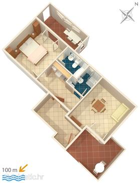 Apartment A-6056-b - Apartments and Rooms Brela (Makarska) - 6056