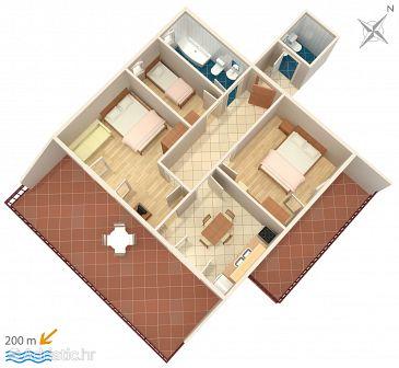 Srima - Vodice, Plan u smještaju tipa apartment, WIFI.