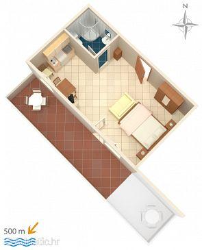 Vodice, Plan u smještaju tipa studio-apartment, WIFI.